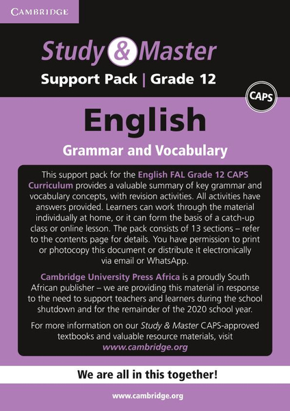 Study & Master English FAL Grade 12 Support Pack