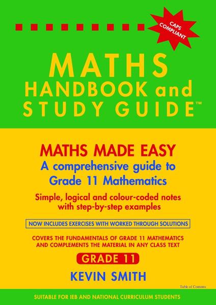 MATHS HANDBOOK ABD STUDY GUIDE GR 11