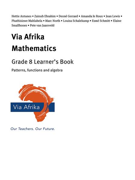 Via Afrika Mathematics Grade 8 Learner's Book: Patterns, functions and algebra