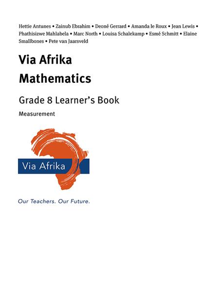 Via Afrika Mathematics Grade 8 Learner's Book: Measurement