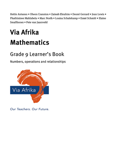 Via Afrika Mathematics Grade 9 Learner's Book: Numbers, operations and relationships