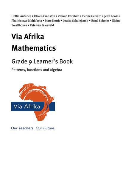 Via Afrika Mathematics Grade 9 Learner's Book: Patterns, functions and algebra