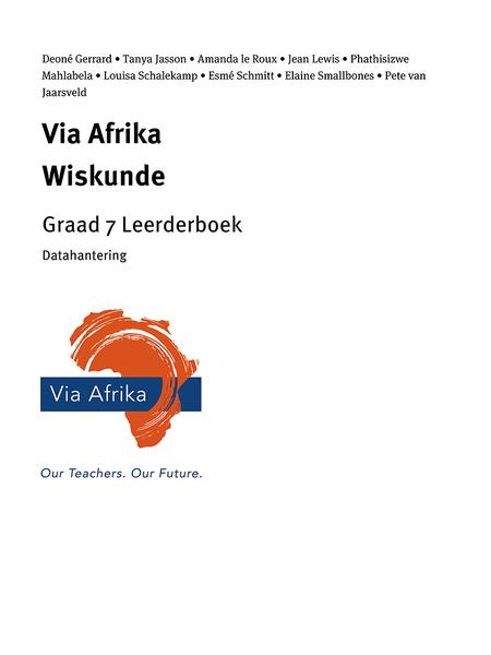 Via Afrika Wiskunde Graad 7 Leerderboek: Via Afrika Datahantering