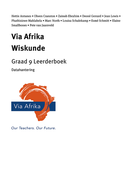 Via Afrika Wiskunde Graad 9 Leerderboek: Via Afrika Datahantering