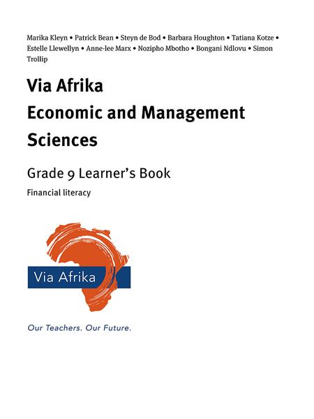 Via Afrika Economic and Management Sciences Grade 9: Financial literacy